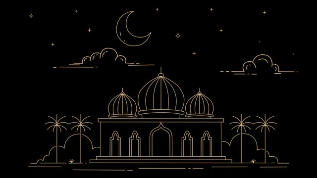 outline style mosque building - ид аль фитр стоковые видео и кадры b-roll
