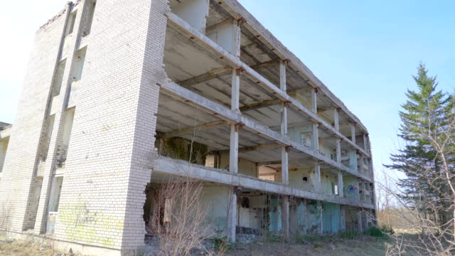 Outside look of the ruined building during the war video