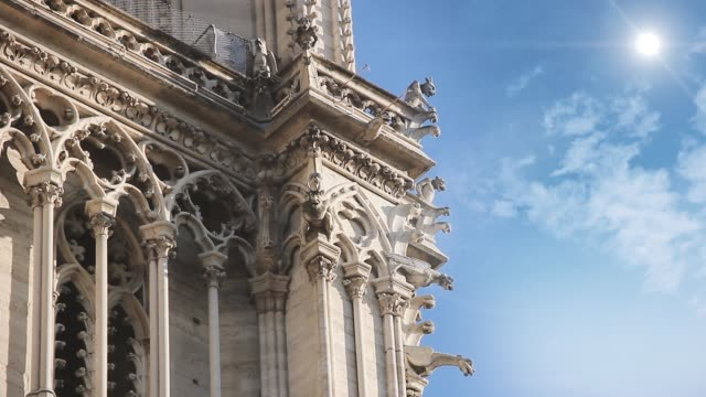 outside of the notre dame cathedral, paris, circa 2019, before de fire. - gargoyle video stock e b–roll