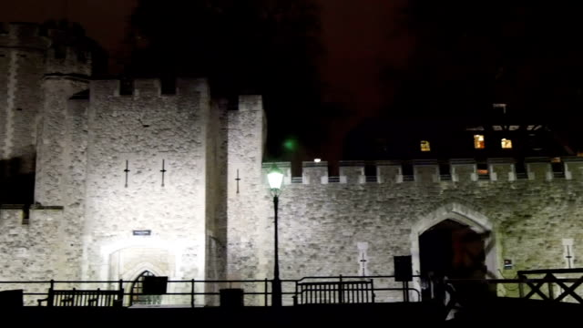 Outside the Tower of London taken at night video