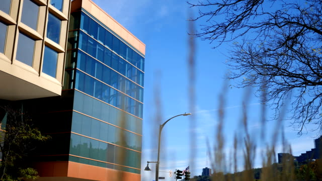Outside view of a hotel lobby in luxury hotel on sunny day - vídeo