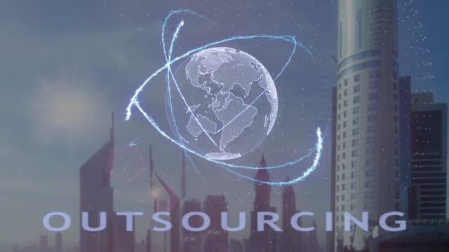 Outsourcing text with 3d hologram of the planet Earth against the backdrop of the modern metropolis