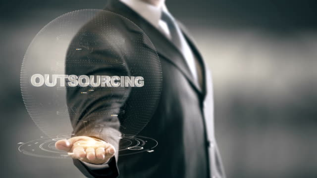 Outsourcing with hologram businessman concept