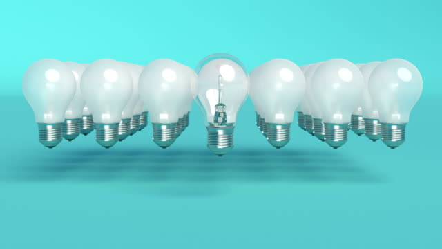 Outstanding light bulb Minimal idea concept Bright light able to loop seamless 4k
