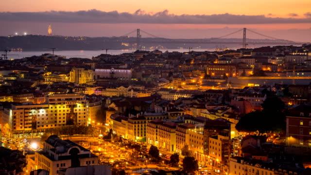 vídeos de stock e filmes b-roll de d2n t/l over lisboa, portugal - lisboa
