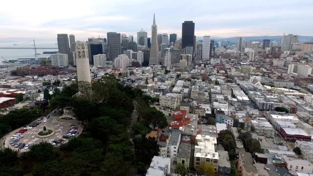Over San Francisco California Coit Tower Downtown City Skyline