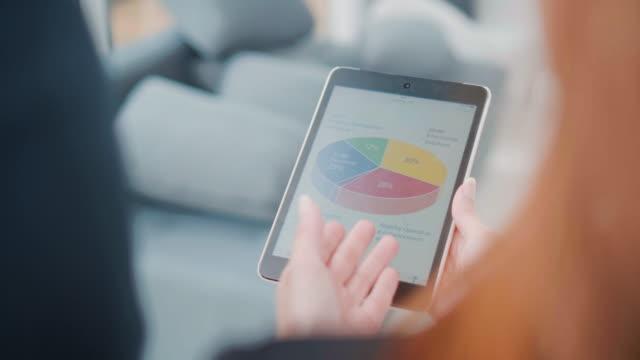 vídeos y material grabado en eventos de stock de sobre tiro de hombro de empresarias con tableta digital hablando - píldoras