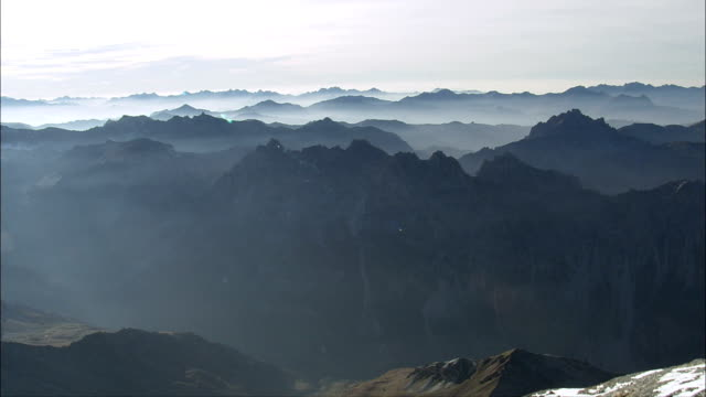 Over the Alps At Dusk  - Aerial View - Rhône-Alpes, Savoy, France video