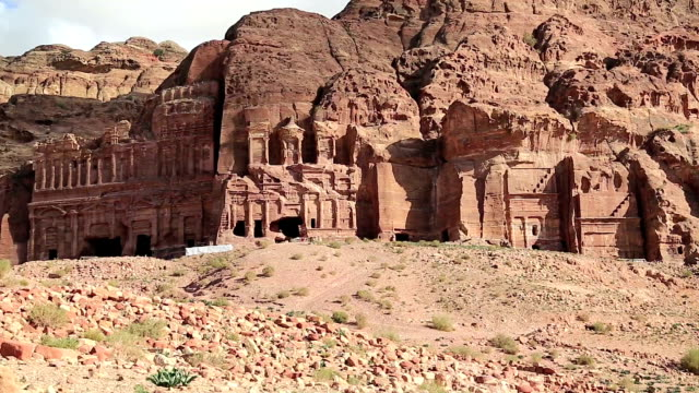 Overall view of Royal Tombs, ancient Rose City of Petra, Jordan video