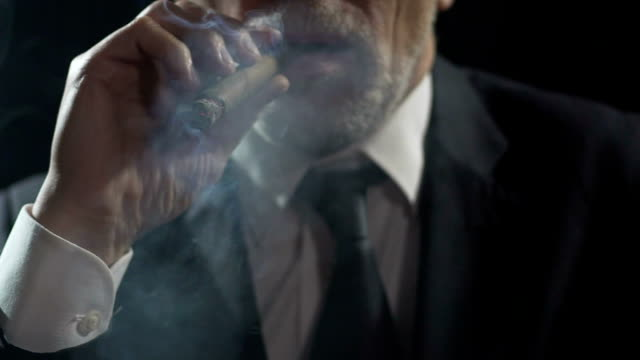 overbearing oligarch enjoying cigar smoking, authority and power, slowmotion - controllo video stock e b–roll