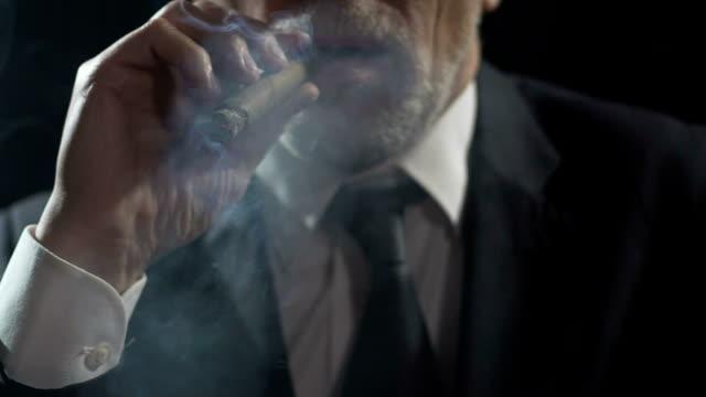 oligarchia prepotente che si gode il fumo di sigaro, l'autorità e il potere, la lentezza - sigaro video stock e b–roll