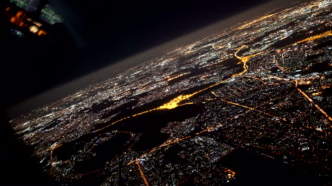 Overflying Johannesburg by Night shot with Sony a7iii aircraft point of view stock videos & royalty-free footage