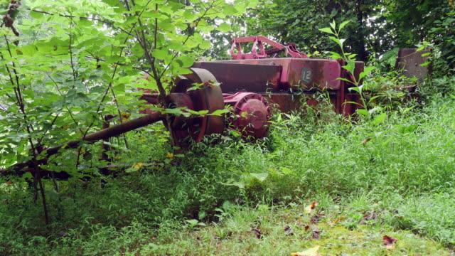 Maquinaria Agrícola Industrial cubierto se encuentra abandonada en el bosque - vídeo