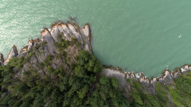 Overhead Aerial of Howe Sound Coastline with Turquoise Water Splashing Shore video