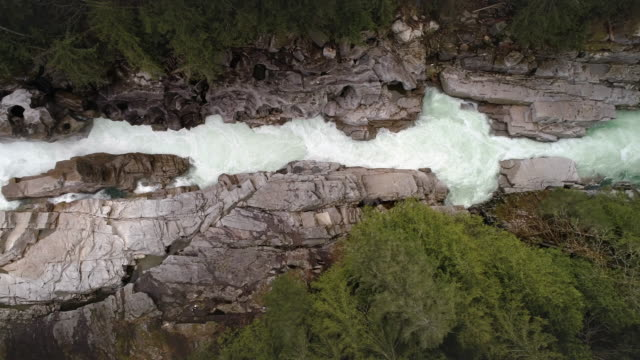Overhead Aerial of Long Canyon Waterfall in Fresh Clean Water Environment Shot video