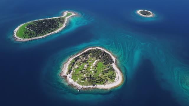 Overhead aerial view of seagulls flying over small desert islands in Brijuni archipelago, Istria, Croatia.