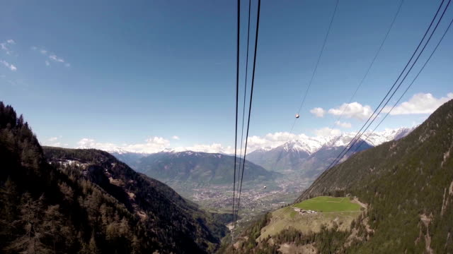 Overhead cable car moving down video