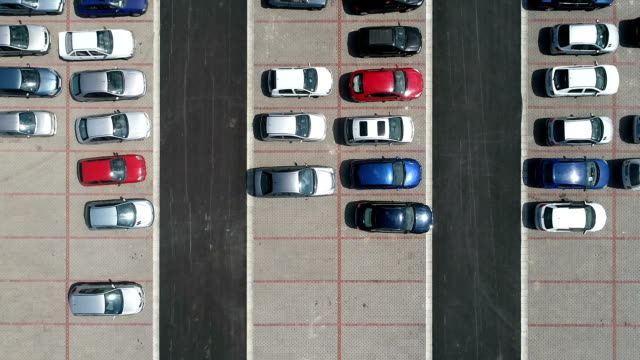 Overhead Drone Shoot of Parking Lot