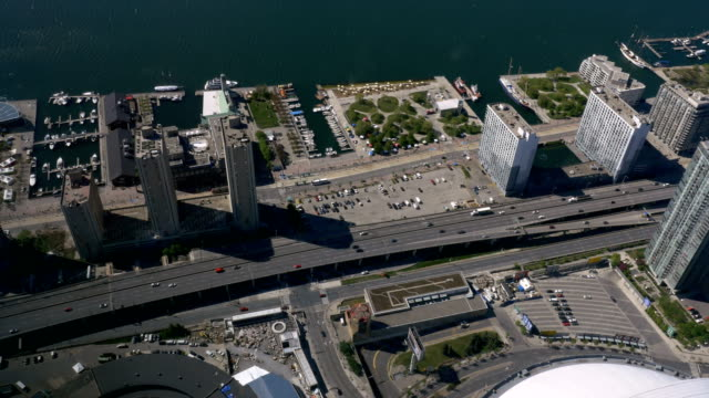 Overhead of Lakeshore Boulevard and the Gardiner Expressway in Toronto video