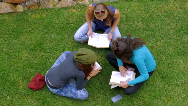 Overhead of three teenage girls reading books on the green grass in slowmo video