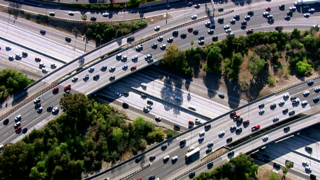 Overhead shot of busy freeway intersection, Los Angeles