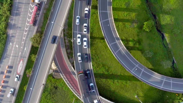 Overhead shot of highway and traffic in Bangkok, Thailand, Aerial view video