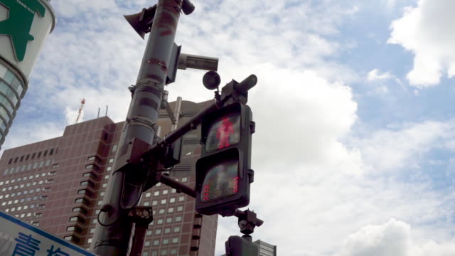 HD Overhead traffic light changing with blue sky in city