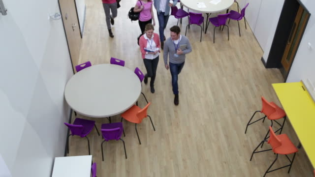 Overhead View Of College Students And Tutors In Cafeteria video