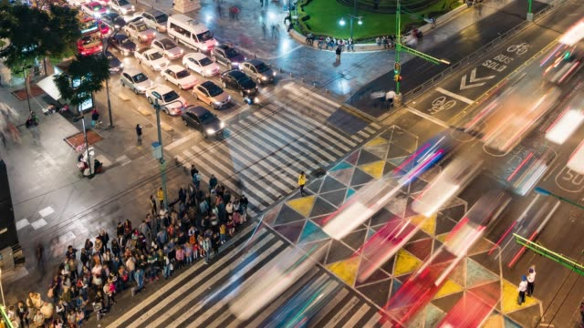 Overhead view of crossroads in Mexico City Overhead view time lapse of crossroads in Mexico City traffic time lapse stock videos & royalty-free footage