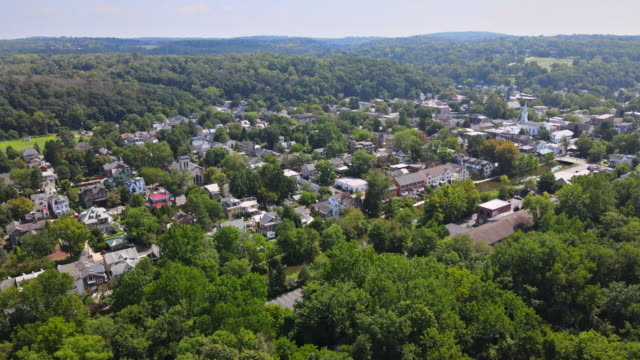 Overhead view of Delaware river aerial landscape of small town Lambertville New Jersey with historic city New Hope Pennsylvania US