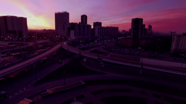 Overpass in urban district in the evening video
