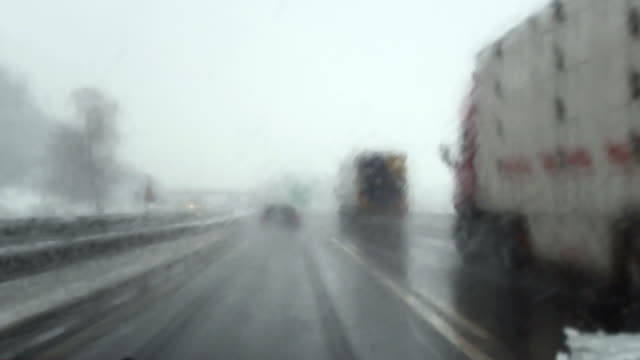HD: Overtaking On A Snowy Highway video