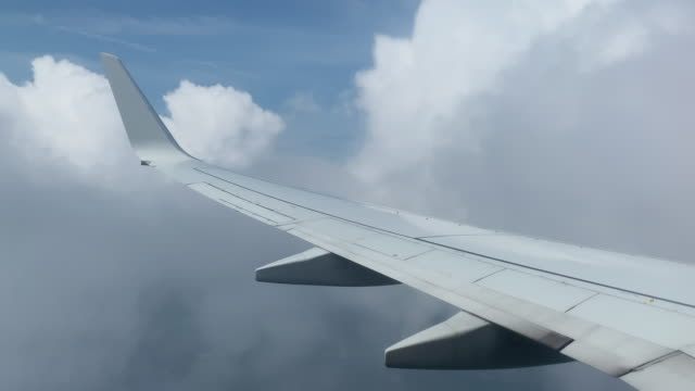 Over-the-Wing View from a Commercial Airline Jet of Flying over Clouds and Land on a Sunny Day