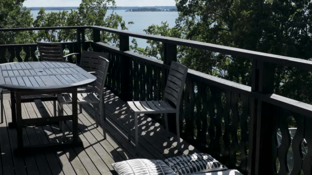 Overview of outdoor wooden veranda around private house with gorgeous landscape around.