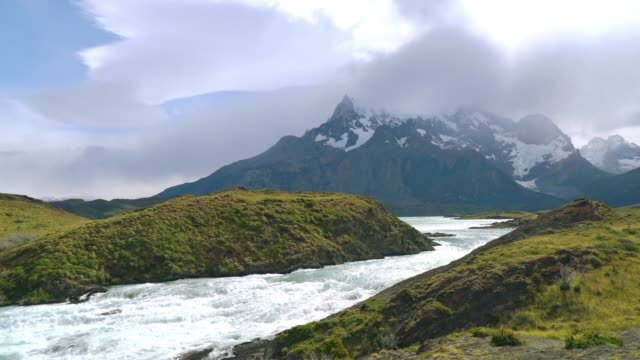 Overview with Waterfall in the Torres del Paine national park Overview with Waterfall in the Torres del Paine national park sorpresa stock videos & royalty-free footage