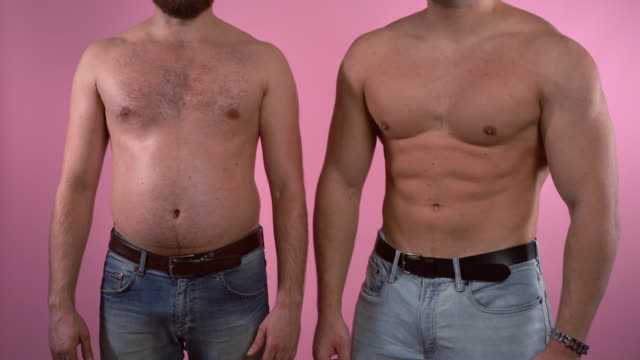 Overweight problem in modern society, sport training and fitness programs for healthy well-being. Healthy eating and lifestyle, diet and body detox, control of calories and nutrition balance. Two men showing changes before and after training. Body