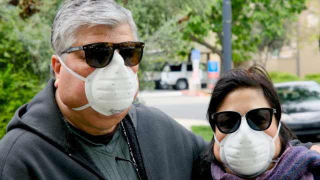 Overweight senior couple wearing a N95 protective mask due Covid-19 pandemic