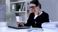 istock Overworked businesslady answering phonecall, unhappy with news, stressful job 1160306540