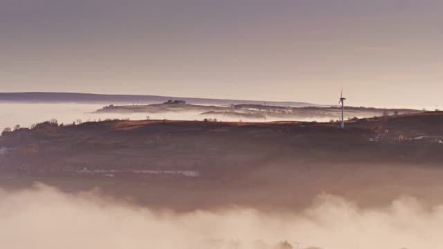 Oxenhope and Haworth, West Yorkshire in Mist - Drone Shot video