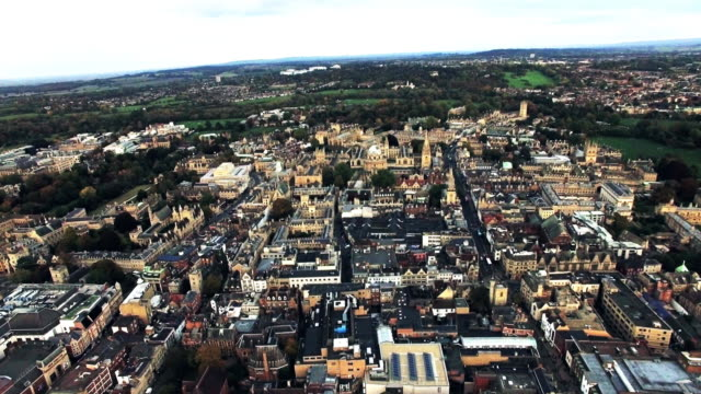 Oxford City and University, England Aerial Helicopter View Footage video