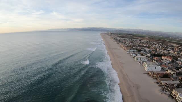 Oxnard Shores California USA Beach Coastline Aerial Flyover Going North Along Waters Edge video