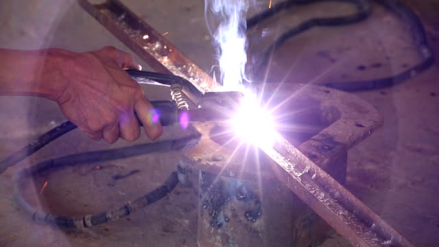 Oxy acetylene welding Oxy acetylene welding of steel wrought iron stock videos & royalty-free footage
