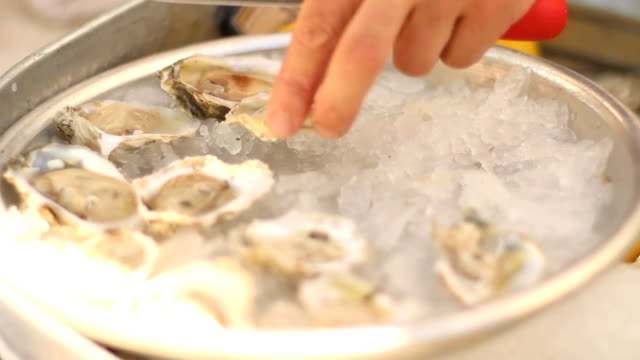Oysters on ice video