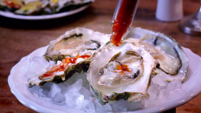 oysters on plate with tabasco sauce and lemon - seafood stock videos and b-roll footage