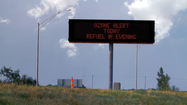 Ozone Highway Sign With Cars HD video