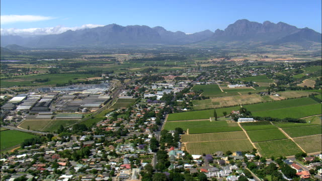 Paarl  - Aerial View - Western Cape,  Cape Winelands District Municipality,  Drakenstein,  South Africa video