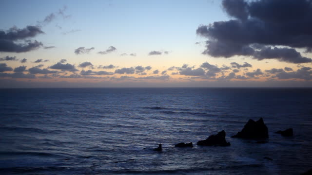 Pacific Ocean at dusk as seen from Oregon Coast video