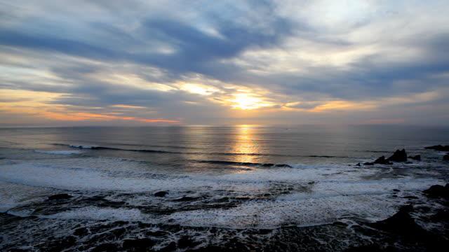 HD Pacific Ocean coast sunset video