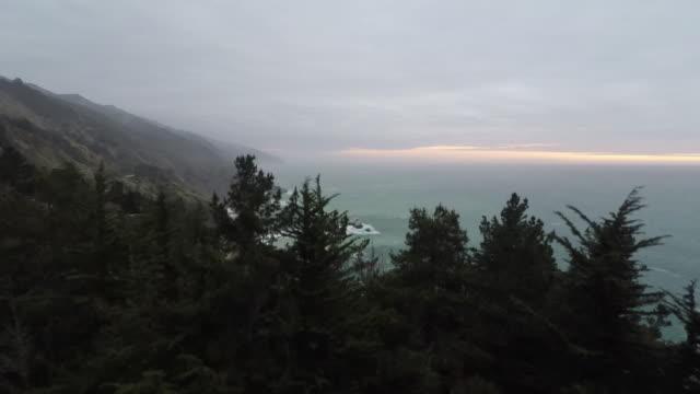 Pacific Ocean Sunset Big Sur Aerial video