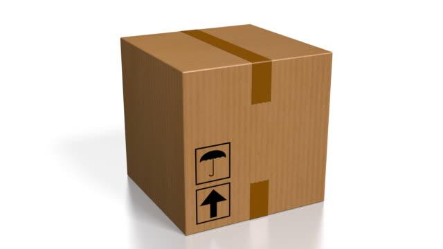 3d-paket, vit bakgrund - låda bildbanksvideor och videomaterial från bakom kulisserna
